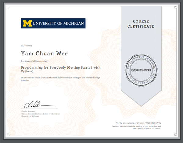 Python Online Certification from University Of Michigan